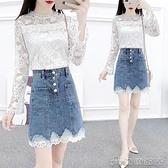兩件套 小香風職業套裝女夏季新款時尚氣質女神範雪紡衫牛仔裙兩件套【快速出貨】