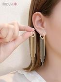 韓國氣質網紅耳環2021年新款潮2021長款流蘇耳飾女高級感大氣耳墜 韓國時尚週 免運
