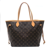 【台中米蘭站】全新展示品 Louis Vuitton Monogram Neverfull MM 肩背購物包(M40156-米色)