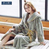 夢之騰冬季新款女士珊瑚絨睡衣時尚奢華加厚法蘭絨吊帶款中長睡袍「時尚彩虹屋」