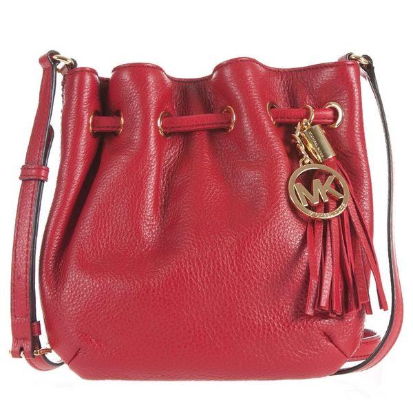 米菲客 Michael Kors MK 35S1TRTC1L 時尚素面 荔枝紋耐用皮革 水桶包 斜背包(紅)