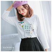 Catworld 正韓空運*小鳥花朵印花棉T【11406521】‧F