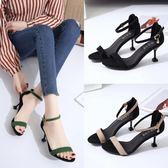 涼鞋女新款簡約高跟鞋中跟細跟黑色一字扣中空露趾貓跟鞋潮