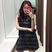 2018夏裝新款慵懶薄花呢裙子修身小香風 洋裝無袖收腰背心裙女裝「輕時光」
