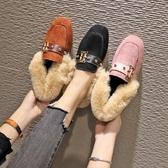2020新款網紅毛毛鞋女鞋子春季韓版平底一腳蹬豆豆鞋加絨保暖棉鞋 藍嵐