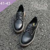 大尺碼女鞋-凱莉密碼-英國風素面經典款擦色綁帶牛津鞋3cm(41-43)【AP111-3】黑色