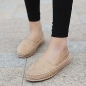 秋季新款休閒平底單鞋女平跟牛筋底軟底豆豆鞋簡約舒適防滑孕婦鞋