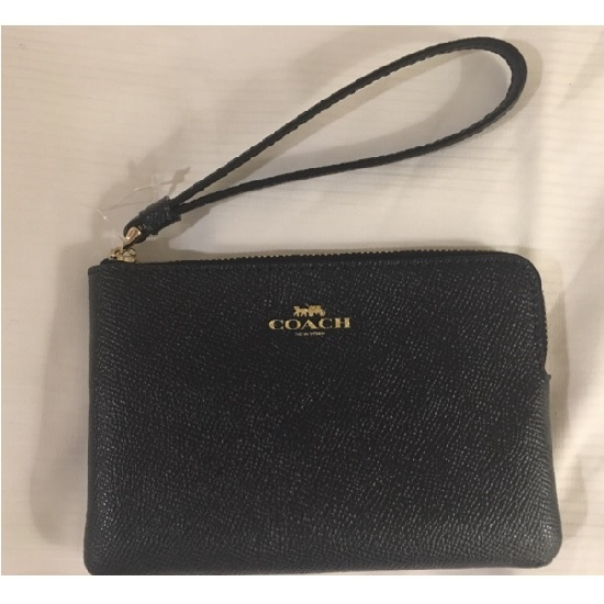 【COACH】 現貨  經典燙印馬車LOGO全牛皮L型手拿包零錢包(黑色)