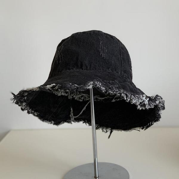 牛仔帽日系破洞毛邊牛仔漁夫帽子女春夏戶外遮陽帽出游可折疊盆帽太陽帽 嬡孕哺