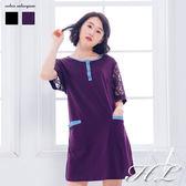 .GAG GLE超大尺碼.【16060017】簡單美著蕾絲緹花袖棉質洋裝 2色