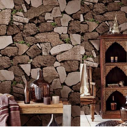 復古個性壁紙自然風岩石石塊石頭石紋牆紙現代中式餐廳服裝店酒吧
