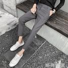 小西褲男韓版潮流直筒百搭純色修身小腳九分褲寬鬆墜感休閒西裝褲