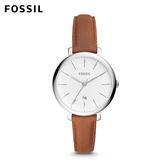 FOSSIL Jacqueline 賈姬風尚 經典焦糖土色皮革手錶 女 ES4368
