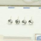 矽膠 白色水鑽耳棒耳釘針-3、4、5mm 防抗過敏 4支(2對)價