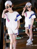 運動服童裝女童夏裝2019新款夏季裝兒童時髦洋氣運動套裝女大童短袖套裝