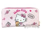 〔小禮堂〕Hello Kitty 皮質拉鍊長夾《粉白.牽小熊》皮包.皮夾.錢包 4710810-64710