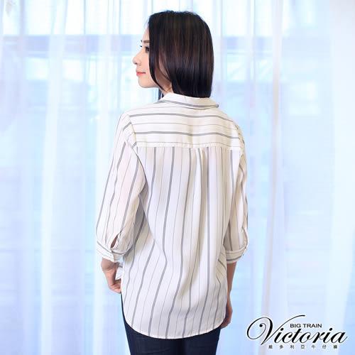 Victoria 雪紡七分袖襯衫-女-白底黑條