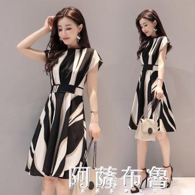 短袖洋裝 黑白條紋連衣裙夏季新款女時尚圓領短袖收腰顯瘦修身中長裙子 igo阿薩布魯