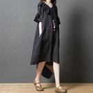中大尺碼洋裝 2021夏裝新款韓版寬鬆減齡大碼女裝時尚拼接荷葉邊V領顯瘦連身裙