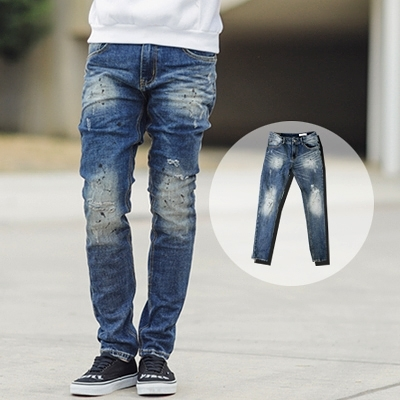 牛仔褲 韓國製塊狀刷色潑漆小直筒牛仔褲【NB0361J】