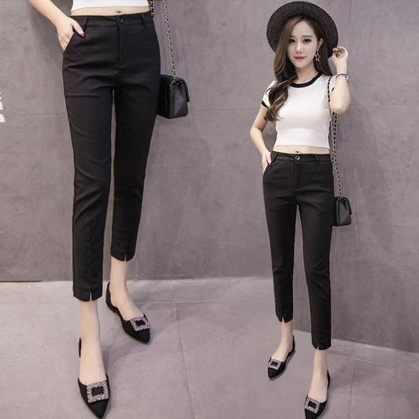 西裝褲女九分黑色休閒直筒職業西褲小個子八分小腳2021新款春夏薄 伊蘿