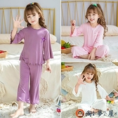莫代爾兒童睡衣套裝薄款女童家居服寶寶夏季空調服寬松【淘夢屋】