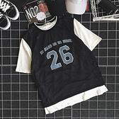 夏季韓國街頭籃球衣服短袖原宿bf風數字印花假兩件情侶T恤男女潮 【ifashion·全店免運】