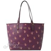 茱麗葉精品【全新現貨】COACH 80232 動物派對雙面大購物托特包.紫