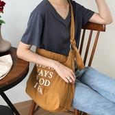 韓版ins帆布袋女單肩包學生原宿ulzzang森系斜挎帆布包手提購物袋