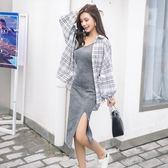 早初秋季裝2018新款披肩吊帶針織連衣裙子加襯衫外搭兩件套裝女裝