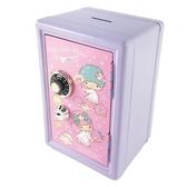 小禮堂 雙子星 保險箱造型存錢筒附鎖 金屬撲滿 儲金筒 收納鐵盒 (紫) 4891595-98084