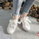 絲帶半托小白鞋女正韓百搭休閒白鞋子無後跟一腳蹬帆布 茱莉亞嚴選