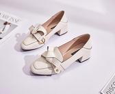 牛津鞋 軟妹小皮鞋女粗跟中跟樂福鞋學院風仙女單鞋