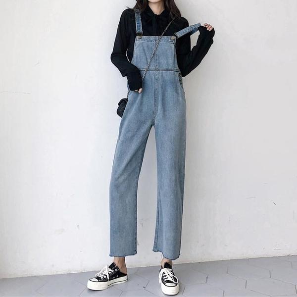 韓版復古寬鬆直筒背帶牛仔褲女學生港味顯瘦九分吊帶褲小個子超火「艾瑞斯居家生活」