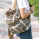 2021新款韓版兩用雙肩包棉麻女士單肩包休閑帆布旅行包褶皺涂鴉包 艾莎