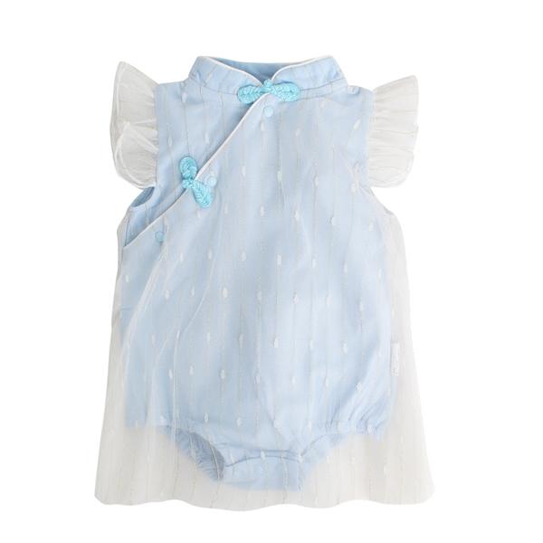 Augelute Baby童衣 旗袍式包屁衣 小飛袖連身衣 女寶寶紗裙 20008