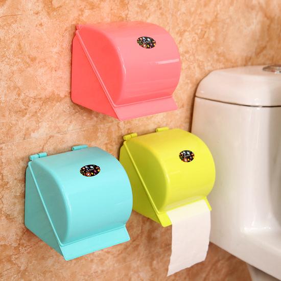 自黏式&吸盤兩用紙巾盒 黏貼 衛生紙 捲紙 廁所 免打孔 多色 浴室 創意【M153】MY COLOR