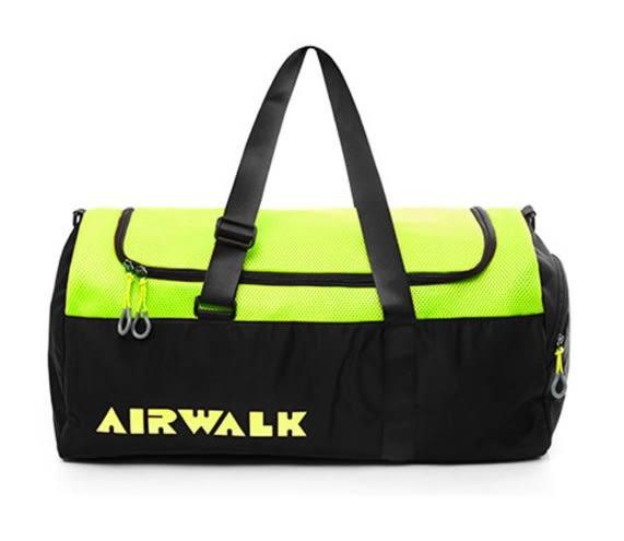 Backbager 背包族【美國 AIRWALK】輕量大容量 圓筒手提袋/旅行袋 - 螢黃黑