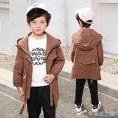 男童外套 秋款純色收腰中長款風衣 秋裝男童兒童童裝長袖上衣7586 辛瑞拉