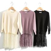 秋冬7折[H2O]蕾絲拼接中長版針織毛衣 - 黑/白/淺紫色 #0650006