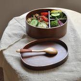 復古日式木質便當盒簡約實木飯盒