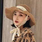 沙灘帽-韓版可折疊手工草帽夏蕾絲綁帶大帽檐海邊遮陽帽 花間公主