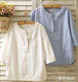 春夏棉麻女裝襯衫七分袖亞麻盤扣長袖寬鬆民族風短袖T恤上衣      麥吉良品