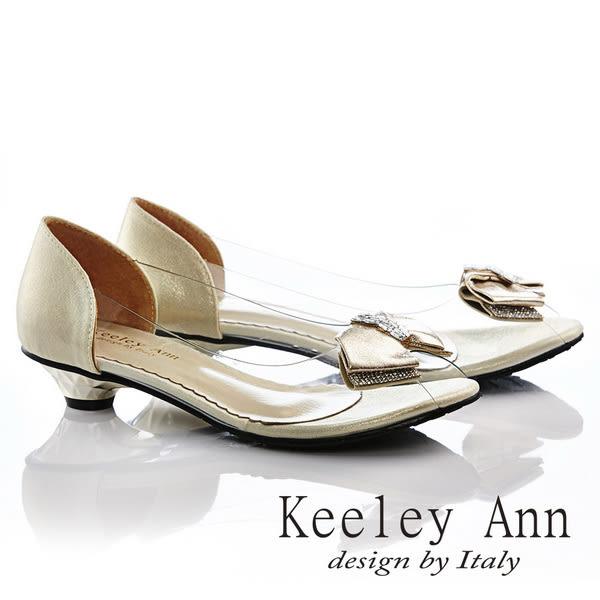 ★零碼出清★ Keeley Ann 精緻出眾~光澤質感蝴蝶結扣低跟魚口鞋(銀色)