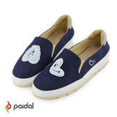 Paidal字母怪獸拼貼輕運動休閒鞋樂福鞋懶人鞋-AL藍