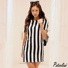時尚豎條印花黑白條紋短袖圓領寬鬆連衣裙 ...