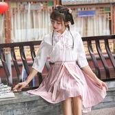 新款夏裝漢服女中國風漢元素改良日常斜襟短裙古風學生表演服套裝