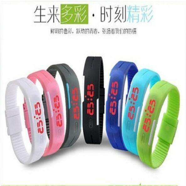 韓版 果凍色LED觸控電子錶 運動手環錶 超輕量路跑 磁吸錶防水潮流LED手錶