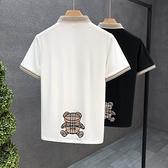 高端Polo衫 男夏季薄款翻領短袖t恤2021年新款男士修身ins半袖 快速出貨