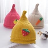 嬰幼兒帽子秋冬兒童毛線帽0-1歲2寶寶奶嘴尖尖帽可愛針織卡通帽潮